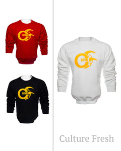 Fleece Crew Neck Long Sleeve Sweater, in  Black,Red and White, with Large Gold Culture Fresh Logo to Chest. Sizes 2XL, XL, L, M, S.