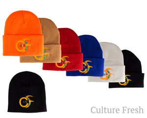 "Toques Straight and Folded in Black, Orange, Blue, Red, Brown and  White, With Multicolored Culturefresh Logo. One Size Fits All. ""Straight"" Toque comes in Black color only."