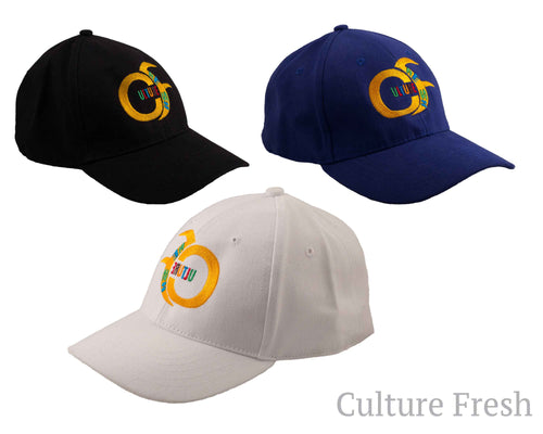 Base Ball Caps in  Royal Blue, White and Black.  Culturefresh Multicoloured Logo at front,  with adjustable strap.