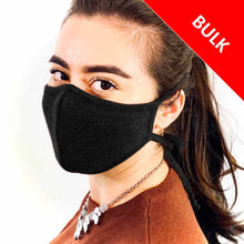 Load image into Gallery viewer, 3 Layer Adjustable Ties Face Mask (100 Pieces)-Bulk-MASKlala-Black-MASKLaLa