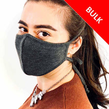 Load image into Gallery viewer, 3 Layer Adjustable Ties Face Mask (100 Pieces)-Bulk-MASKlala-Charcoal-MASKLaLa