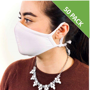 3 Layer Face Mask - White (Qty Discount)-Face Mask-MASKlala-50 PACK WHITE-MASKLaLa