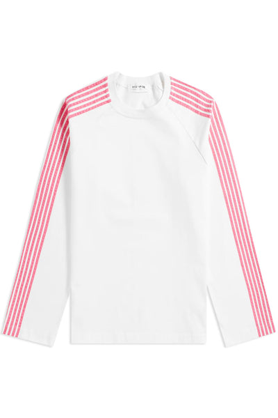 RAGLAN LONG SLEEVE JERSEY SWEATSHIRT with pink velvet stripes