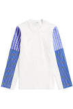 LONG SLEEVE JERSEY SWEATSHIRT with lilac satin and royal blue velvet stripes