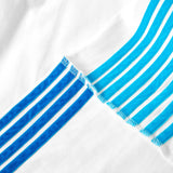 LONG SLEEVE JERSEY SWEATSHIRT with light blue and turquoise velvet stripes