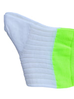 3 PACK UNISEX WHITE SOCKS with green fluorescent elastic