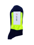3 PACK UNISEX NAVY BLUE SOCKS with yellow fluorescent elastic