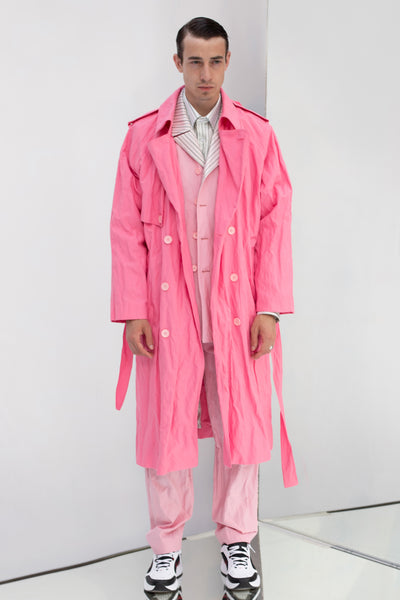 OVERSIZED FUCSIA RAGLAN SLEEVE TRENCH COAT