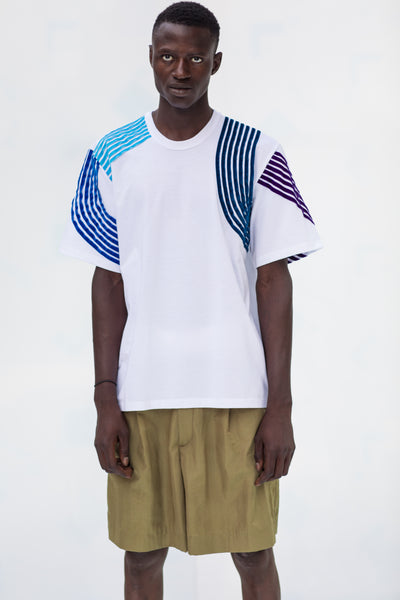 SHORT SLEEVE T-SHIRT with blue velvet stripes composition