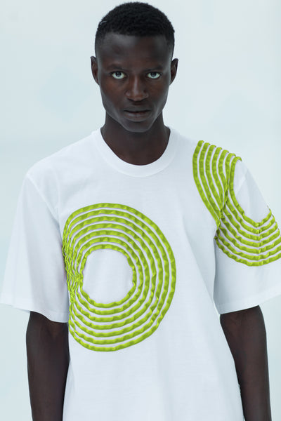 SHORT SLEEVE T-SHIRT with lime green circle stripes