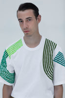 SHORT SLEEVE T-SHIRT with green velvet stripes composition