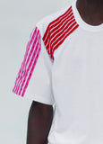 SHORT SLEEVE T-SHIRT with red velvet stripes composition