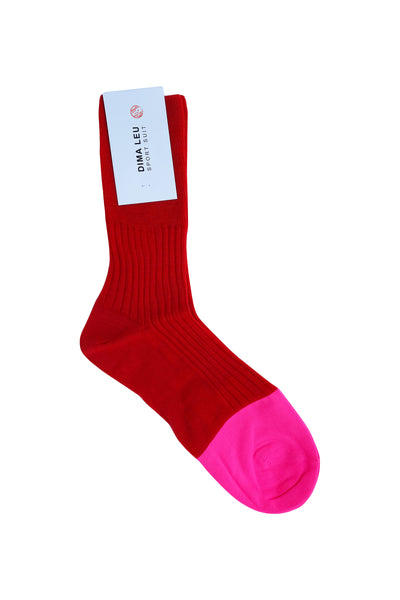 3 PACK UNISEX RED SOCKS with pink fluorescent tip