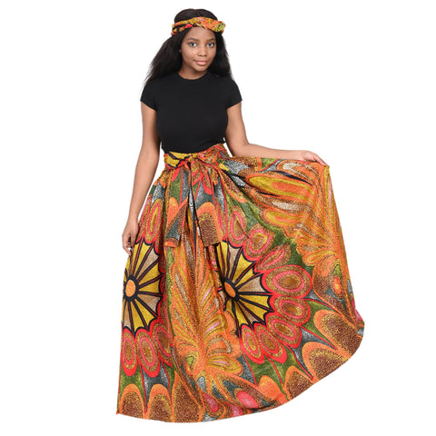 Long African Print Maxi Skirt with matching headwrap.