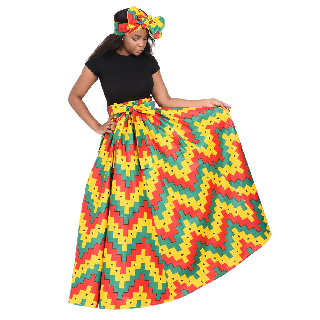 Rasta Print Ankara Long Maxi Skirt Elastic Waist 16317-71 - Advance Apparels Inc