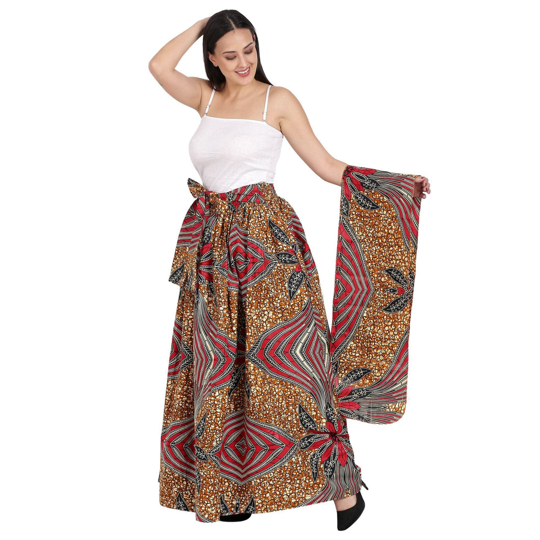 Earth Tone African Print Long Maxi Skirt Elastic Waist 16317-96 - Advance Apparels Inc