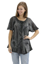 Load image into Gallery viewer, Retro Tie Dye Cap Sleeve Blouse 16483