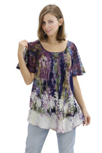 Load image into Gallery viewer, Palm Tree Tie-Dye Blouse Cap Sleeve 17776