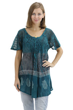 Load image into Gallery viewer, Batik Print Tie Dye Cap Sleeve Blouse