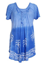 Load image into Gallery viewer, Palm Tree Print Ombre Dye Cap Sleeve Blouse 18713