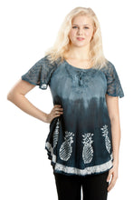 Load image into Gallery viewer, Pineapple Print Ombre Dye Cap Sleeve Blouse 18719