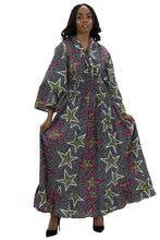Load image into Gallery viewer, Bell Sleeves Long African Print Maxi Dress 2183