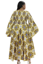 Load image into Gallery viewer, Hi-Lo Bell Sleeves African Print Dress 2215