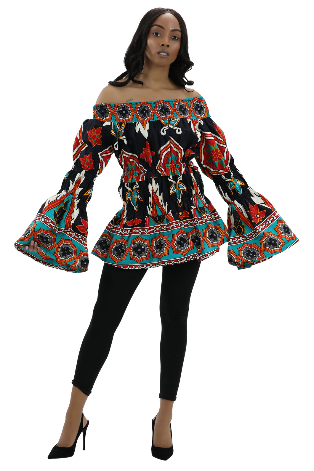 Long Sleeve Ankara Print Blouse 2271