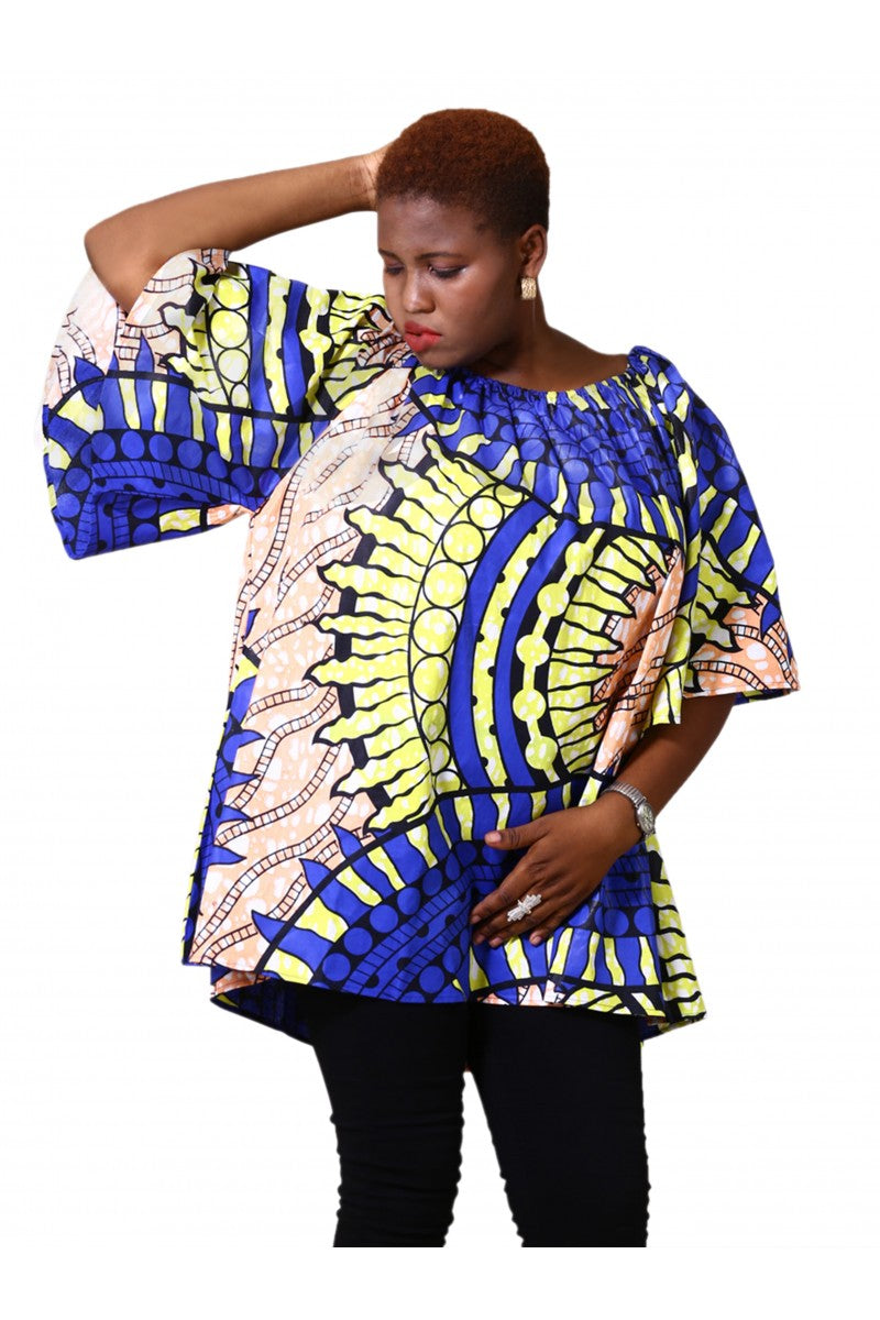 On/Off Shoulder Ankara Print Blouse 171