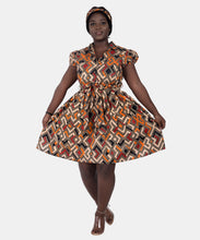 Load image into Gallery viewer, Collared Ankara Print Short Sleeve Dress 2259