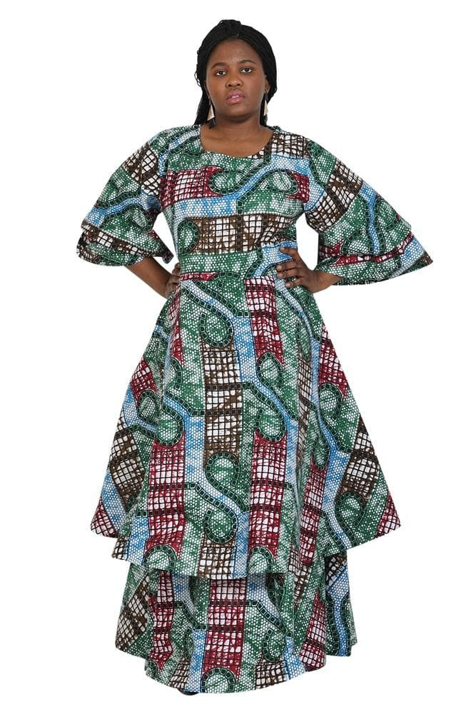 Three Quarter Sleeve Multi Layered African Print Dress 2247