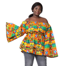 Load image into Gallery viewer, Off Shoulder Bell Sleeve Ankara Blouse 2230