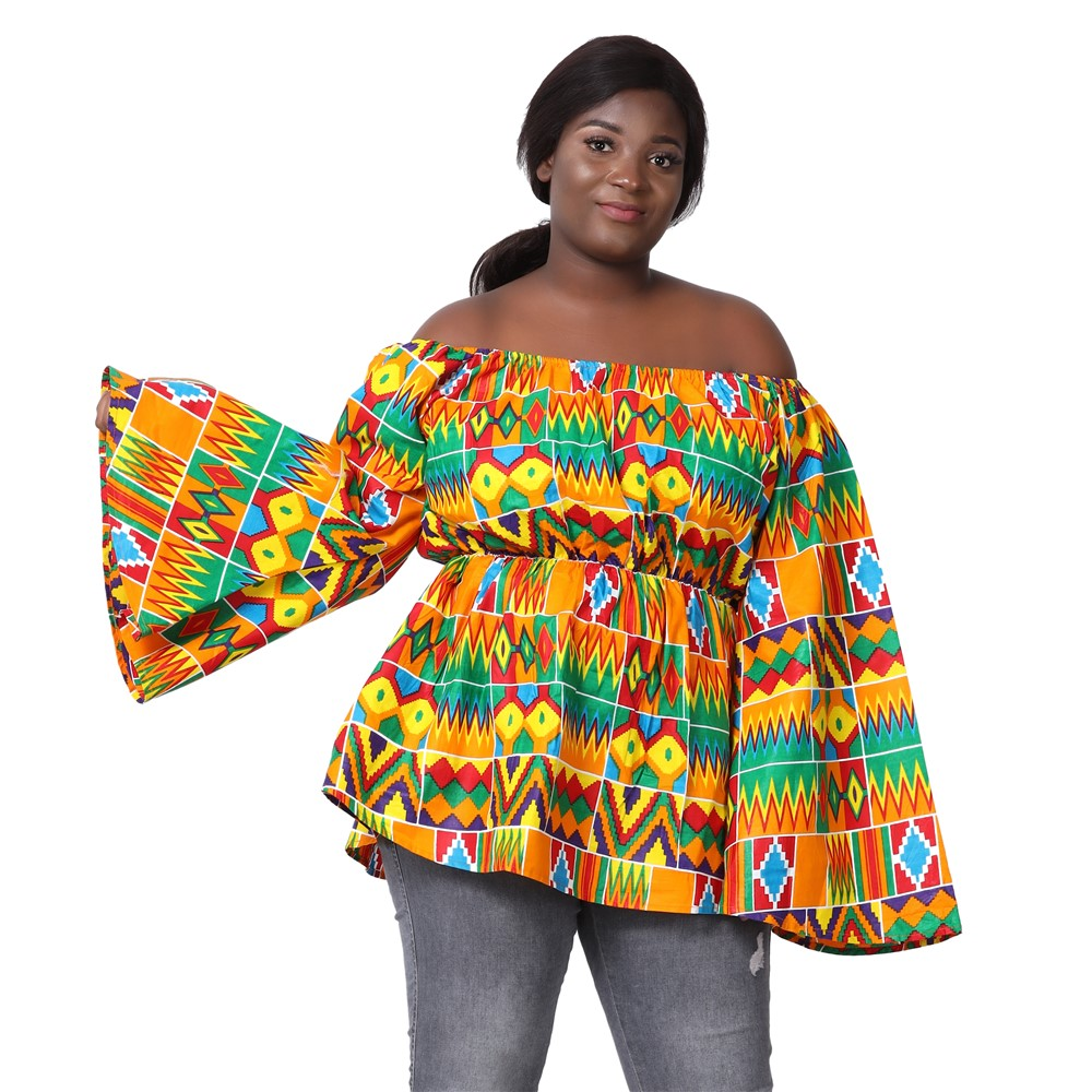 Off Shoulder Bell Sleeve Ankara Blouse 2230