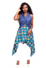 Load image into Gallery viewer, Denim/Ankara Print Cardigan 2195