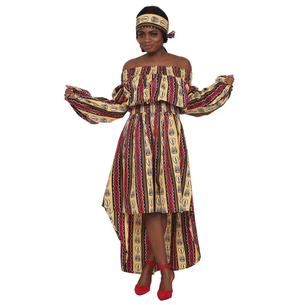 Off Shoulder Hi Lo African Print Long Sleeves Dress 2279-90