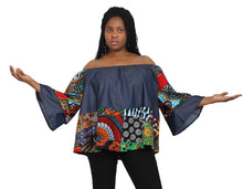 Load image into Gallery viewer, Denim/ Ankara Print Blouse 266