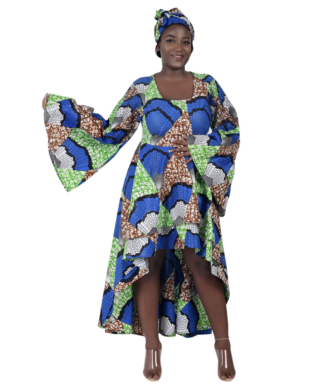 Hi-Lo Bell Sleeves African Print Dress 2215