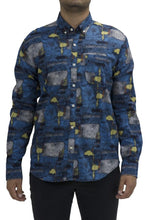 Load image into Gallery viewer, Blue Abstract Long Sleeve Shirt
