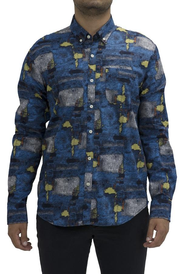 Blue Abstract Long Sleeve Shirt