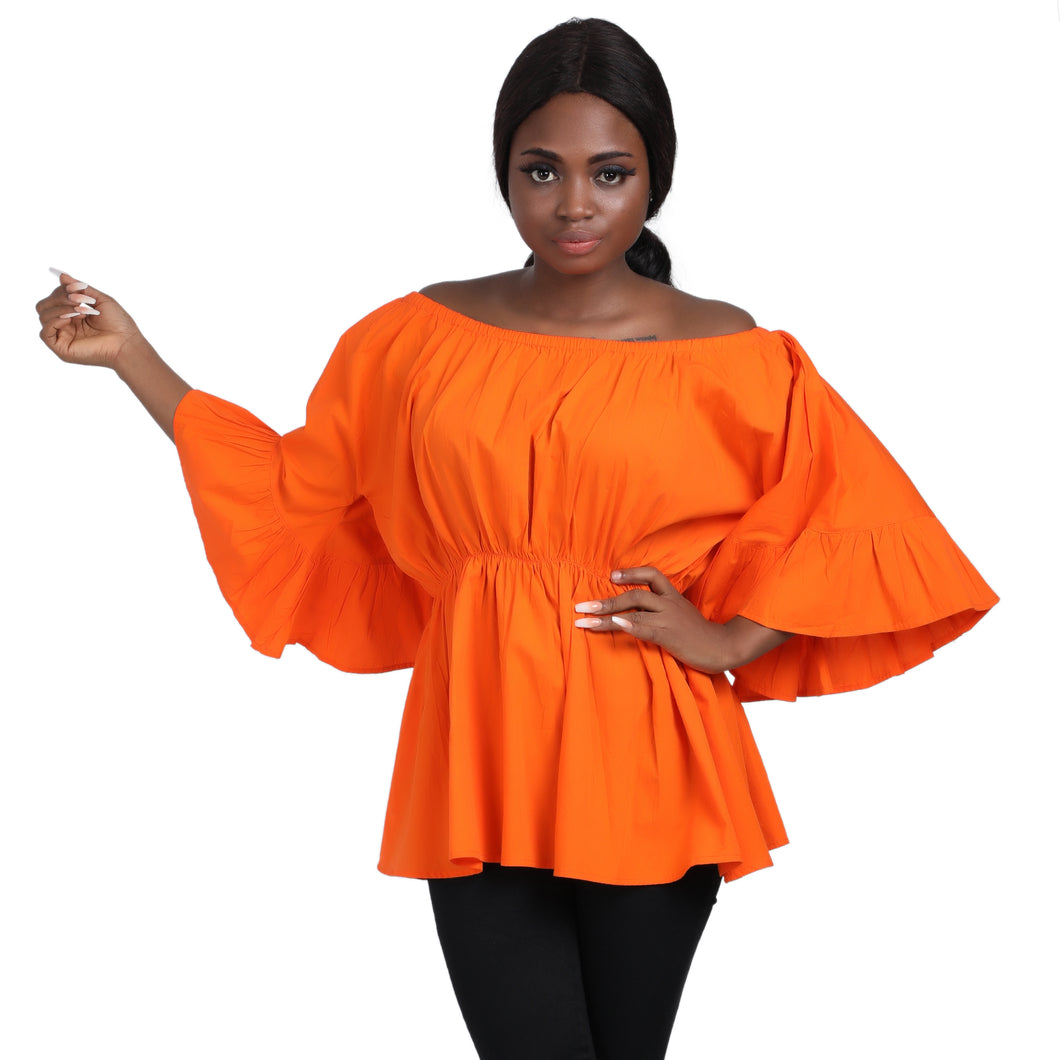 Off-Shoulder Wax Print Blouses w/ Bell Sleeves 2275