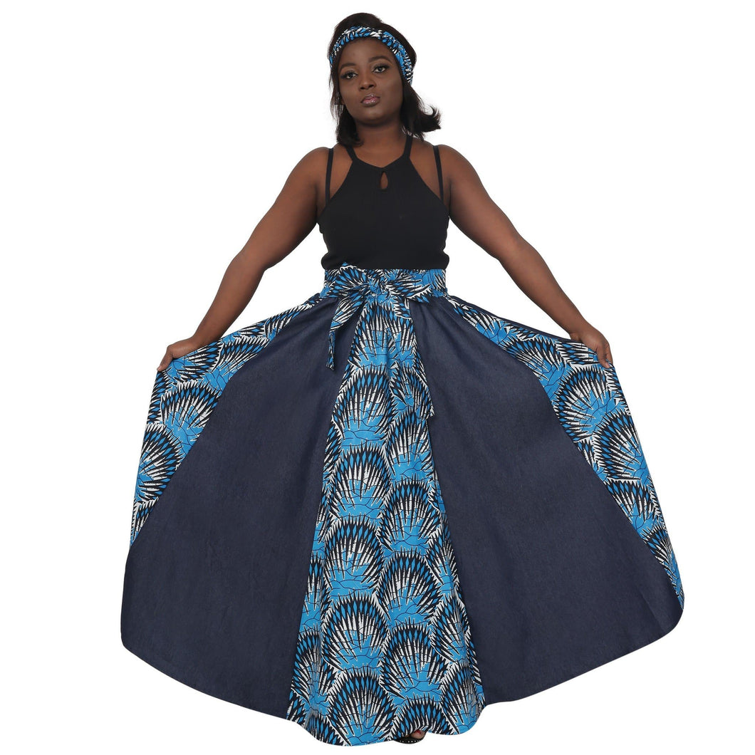 Denim and African Print Long Maxi Skirt - Advance Apparels Inc