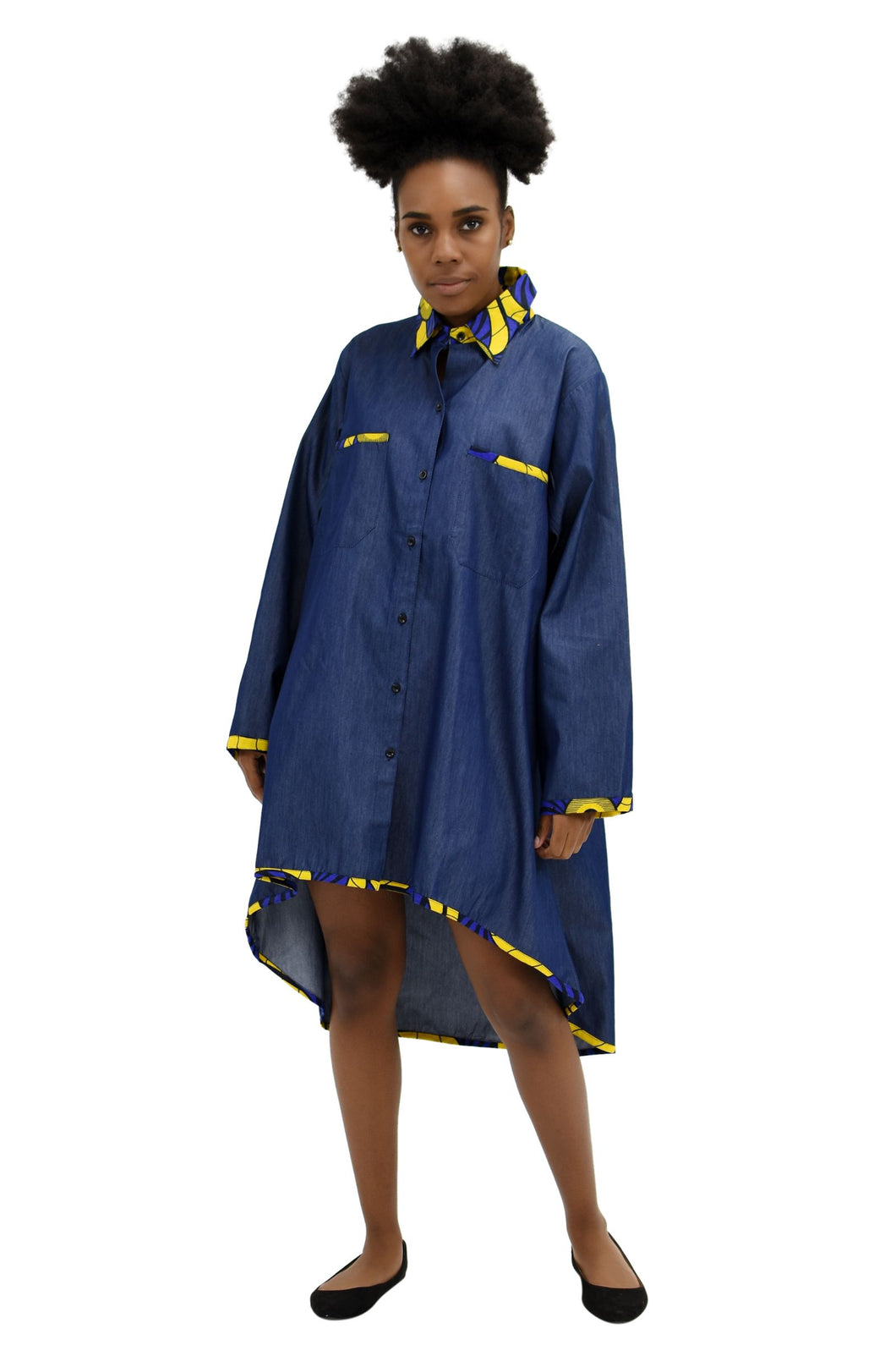 Denim/Ankara Over Sized Shirt / Dress 2199-417