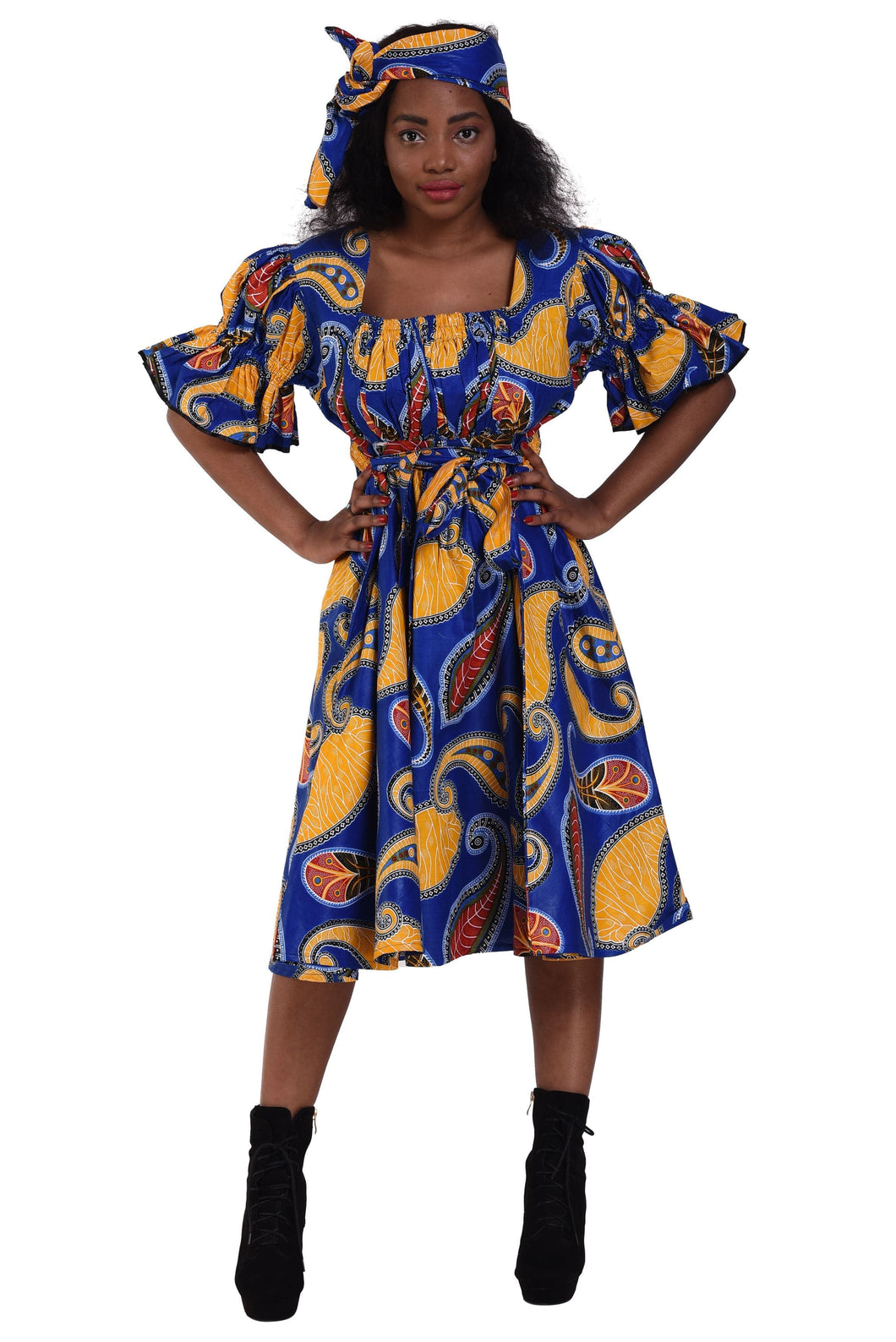 Short Sleeve Ankara Maxi Dress 2256 - Advance Apparels Inc