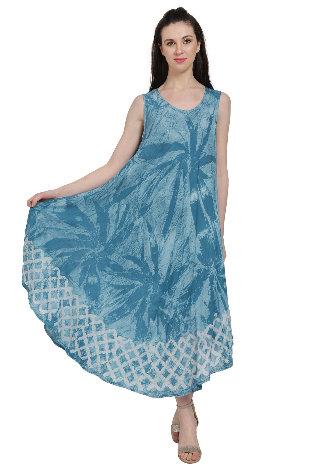 Sleeveless Palm Tree Tie Dye Dress UD52-2321 - Advance Apparels Inc