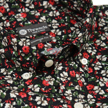 Load image into Gallery viewer, Black Floral Print Short Sleeve Shirt - Advance Apparels Inc