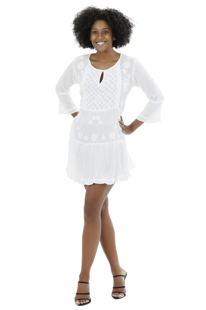 Long Sleeve Hand Embroidered White Dress WD-21113