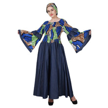 Load image into Gallery viewer, Ankara + Denim Panel Bell Sleeve Dress 2241