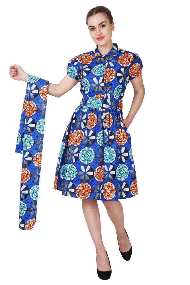 Collared Ankara Print Short Sleeve Dress 2259