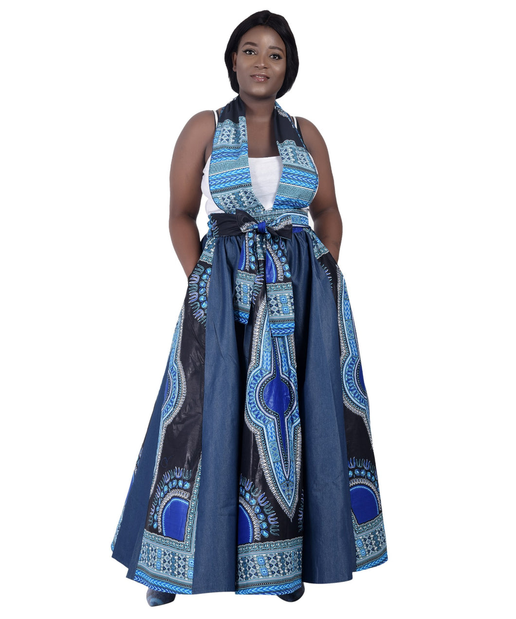 Denim + Ankara Print Long Maxi Skirt 19340
