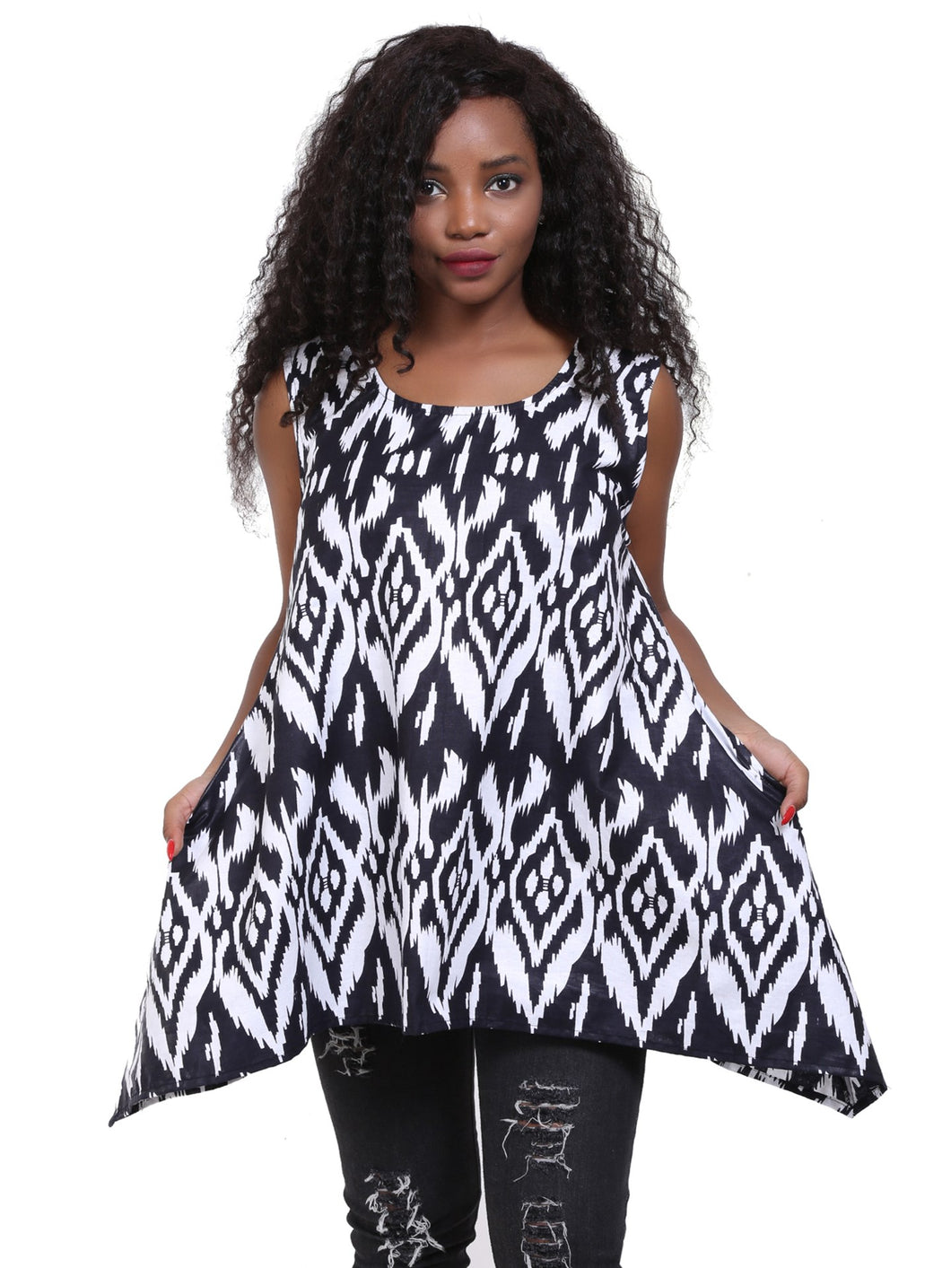 African Print A-Line Sleeveless Blouse 2164-419